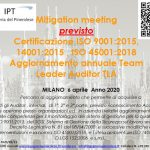 Previsto: Calibration meeting Auditor SGQ SGSL SGA Qualità Sicurezza sul lavoro Ambiente 6 aprile 2020