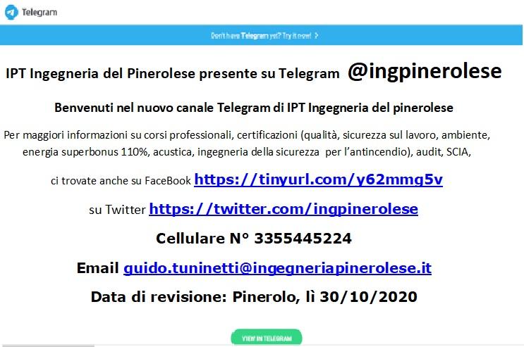 Telegram di IPT Ingegneria del Pinerolese